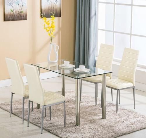 5 Piece Dining Set White Glass and 4 Faux Kitchen