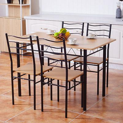 5 Piece Dining Table Set with 4 Chairs Wood Kitchen Furniture