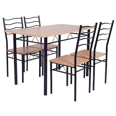 5 Dining Set 4 Wood Metal Furniture