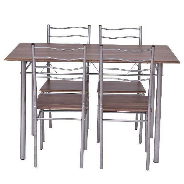 Costway Piece Table Wood Kitchen Furniture Chai