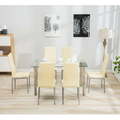 Modern Rectangular Table Kitchen Dining Glass