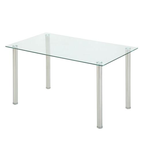 Rectangular Dining Table Glass Top Metal Legs Kitchen Dining