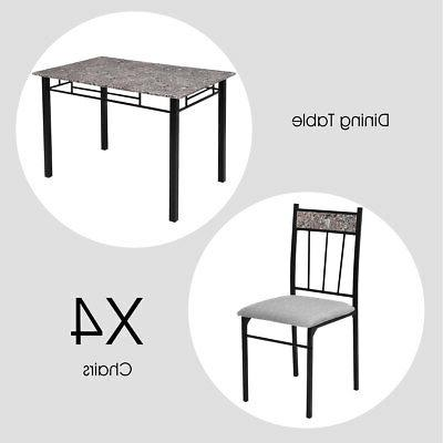 5 Piece Faux Marble Dining Table 4 Kitchen