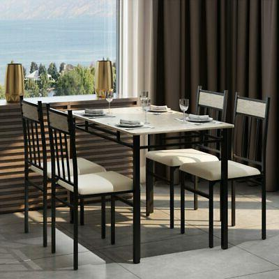 Costway Piece Marble Dining Set and 4 Breakfast Furn
