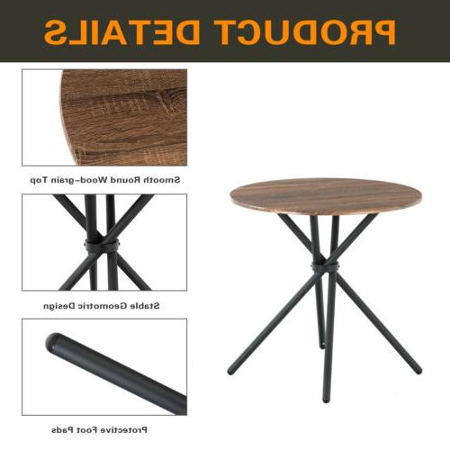 5 Metal Dining Table Set w/ Foldable Chairs Wood Kitchen