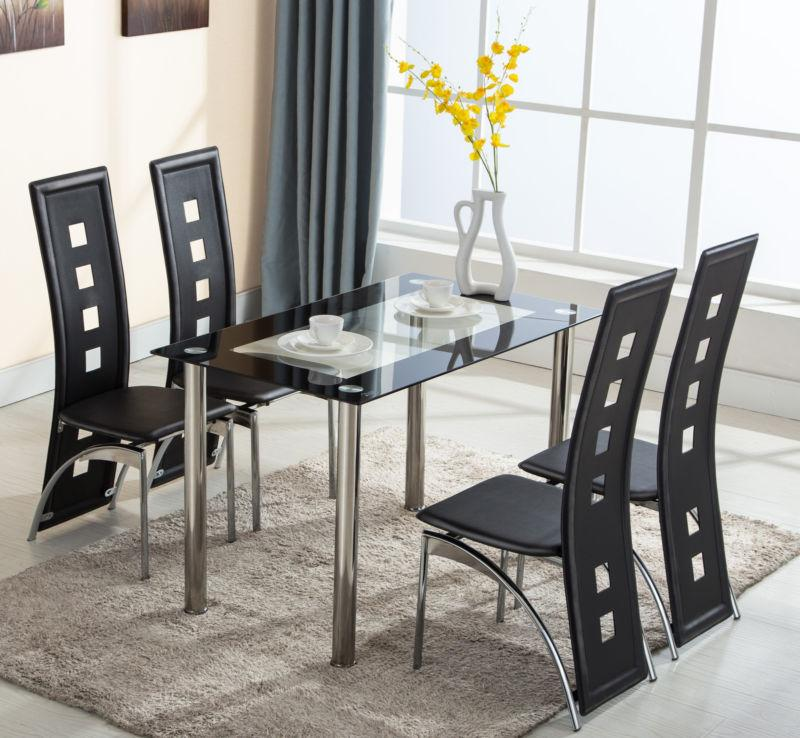 5 piece glass dining table set 4