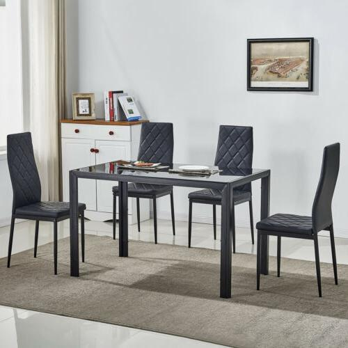5 piece glass metal dining table set