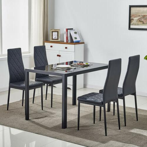 5 Piece Metal Dining Set w/4 Chairs Furniture