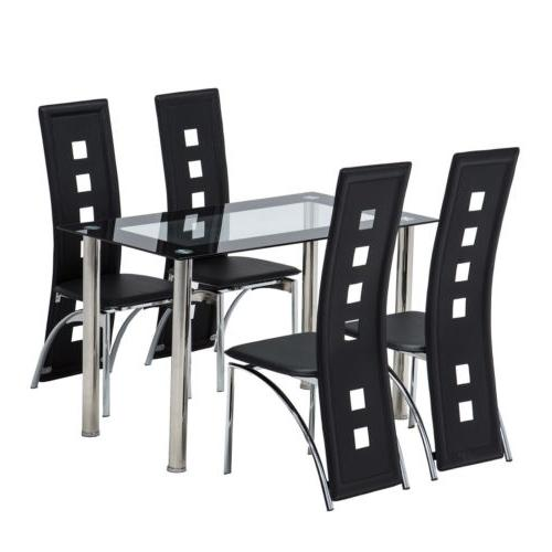 5 Glass White Dining Set Chairs Kitchen Furniture