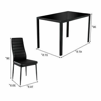 5 Dining Set Glass and Chairs Furniture