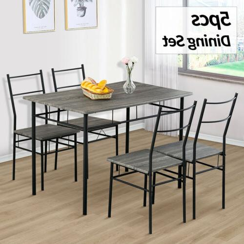 5 Piece Metal Dining Table Set 4 Chairs Wood Top Home Dining