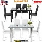 5 Piece Modern Glass Dining Table Set PU Chair Kitchen Room
