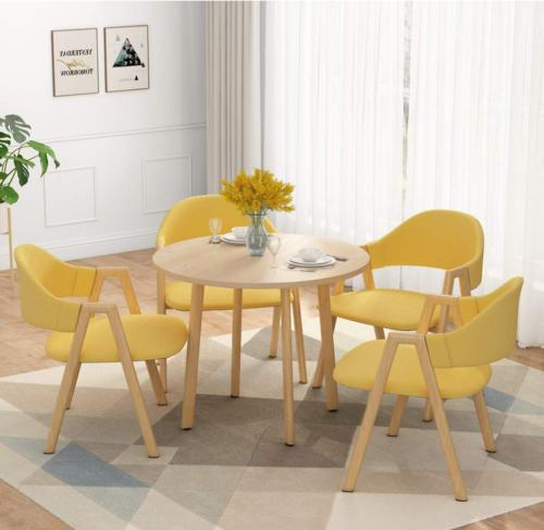 Dining Round Table Chairs set of 5pcs with Padded Seat and S