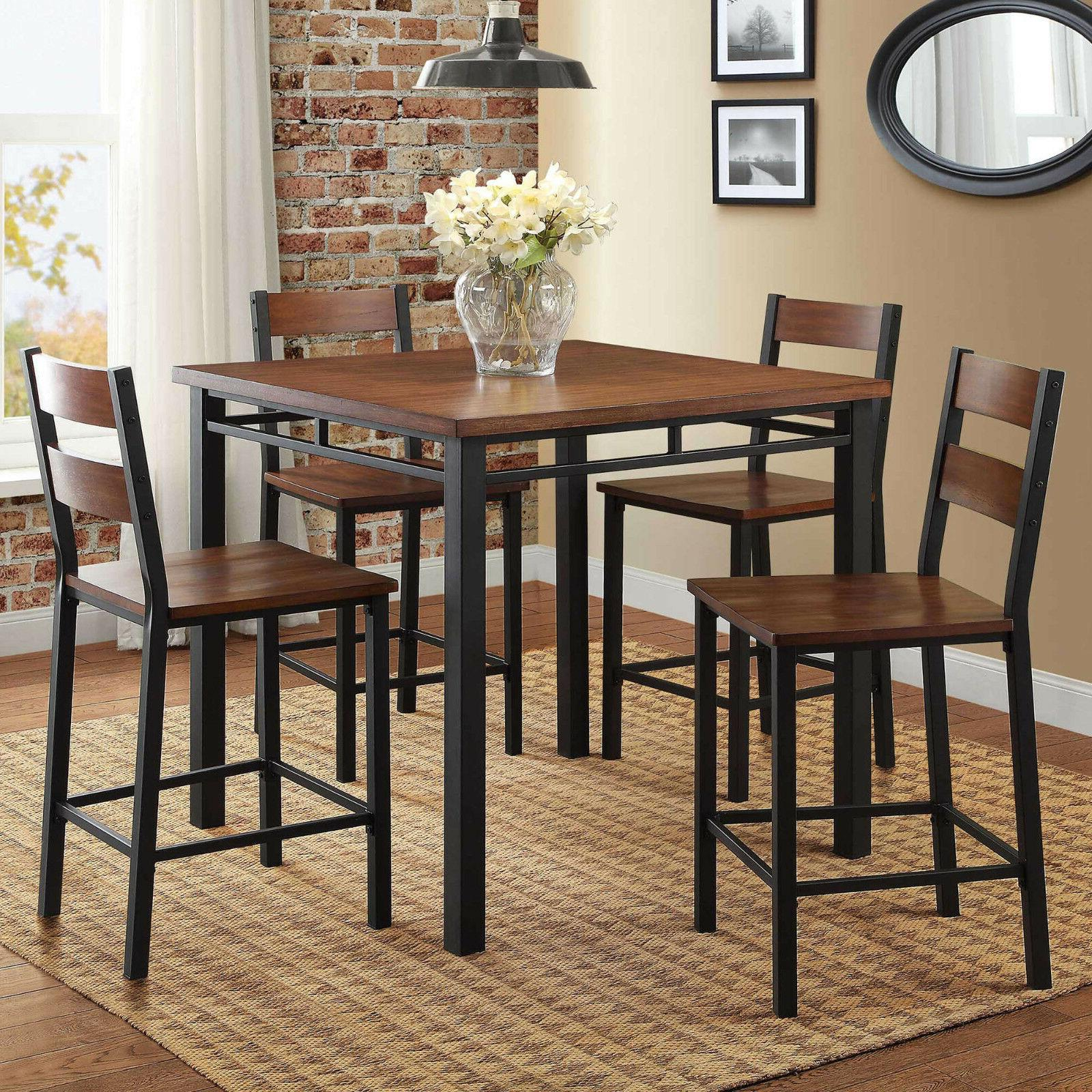 5 piece rustic dining table set high