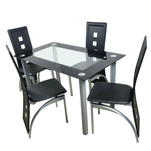 5 Dining Table & 4 Chairs Steel Kitchen Room Black