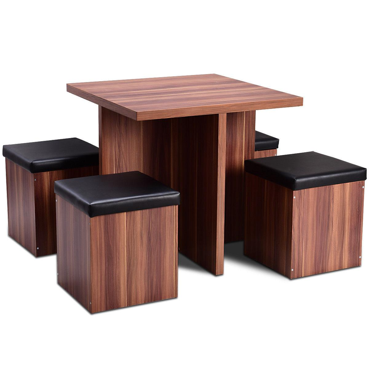 5 Wood Dining Table Kitchen Dinette Table Stool