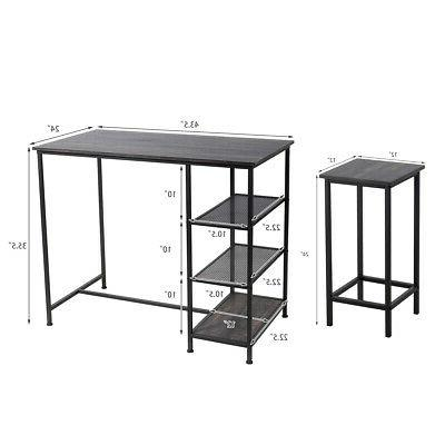 5 Pieces Dining Table Set Bar Table w/4 Stools