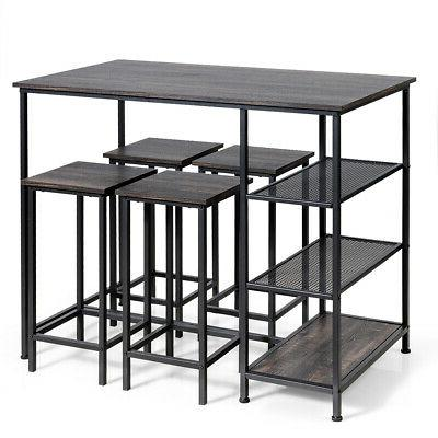 5 pieces counter dining table set bar