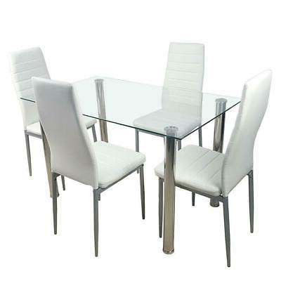 5 WHITE TABLE 4 LEATHER DINNING