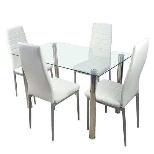 RECTANGULAR GLASS DINING TABLE WHITE LEATHER CHAIR DINING SE