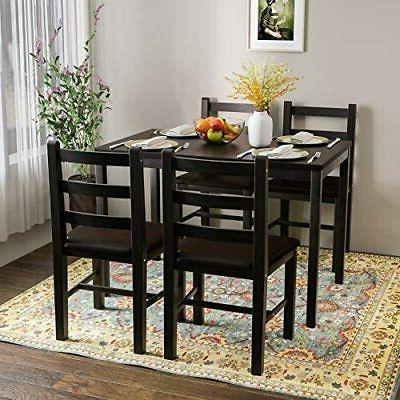 5 Table Wood Table w/ PU Leather