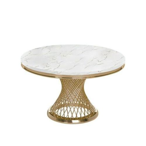 Homary Round Faux Marble Dining Table Gold Stainless Steel B