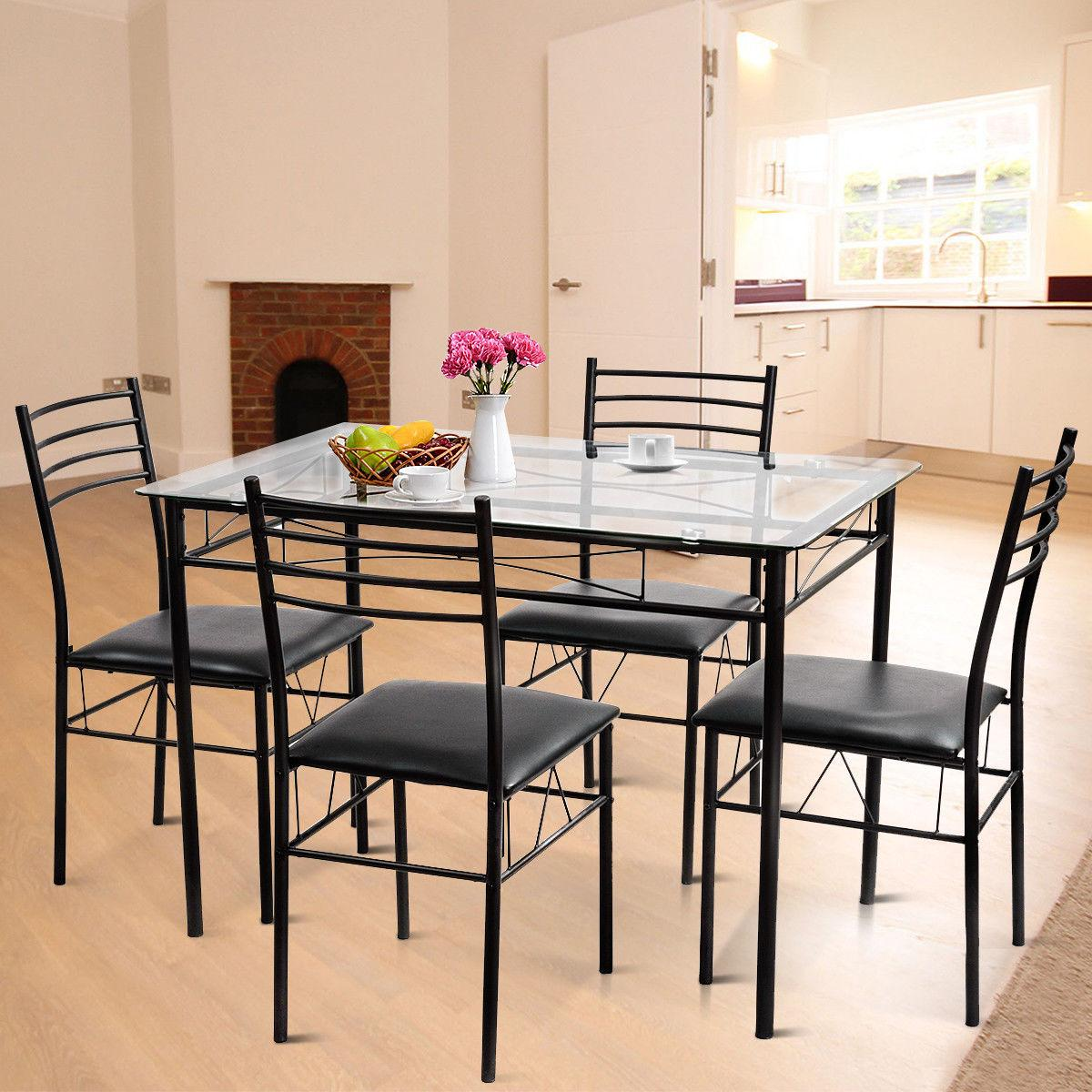 5PC Dining Glass Top 4 Chairs Kitchen Furniture