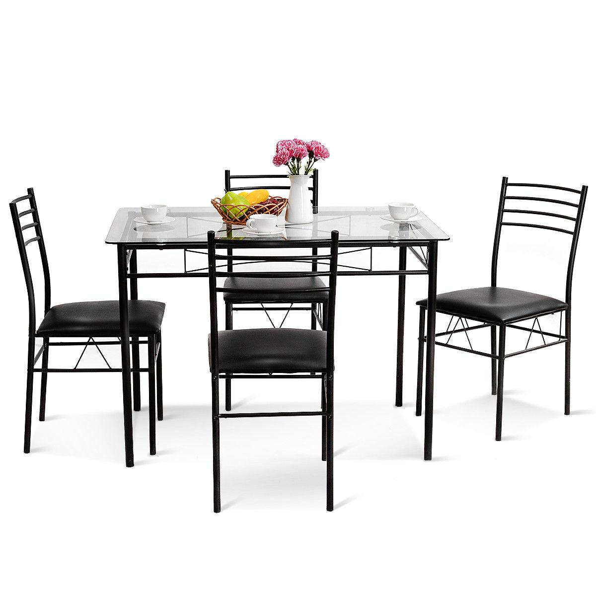 5PC Dining Set Glass Top Table 4 Furniture