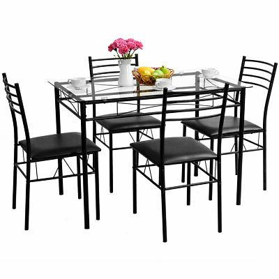 5PC Dining Set Tempered Glass Top Table & 4 Upholstered Chai