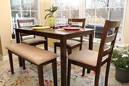 5pc Dining Dinette Table Chairs & Bench Set Walnut Finish 15