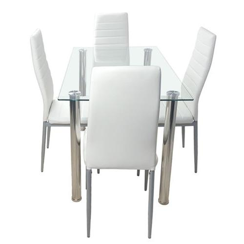 5 Set Glass Chairs Kitchen Furniture