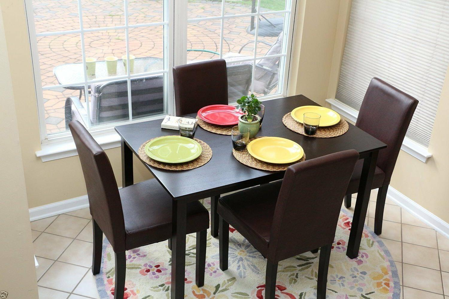 5pc Dining Kitchen Table 4 BROWN Leather 5