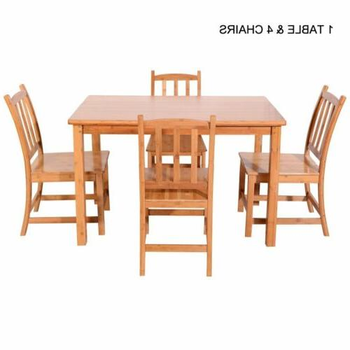 5PCS Bamboo Dining Table Kitchen