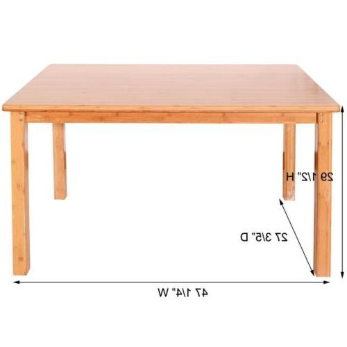 5PCS Bamboo Wood Color Table 4 Chairs Kitchen Furniture