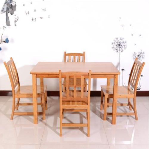 5pcs bamboo wood color dining set