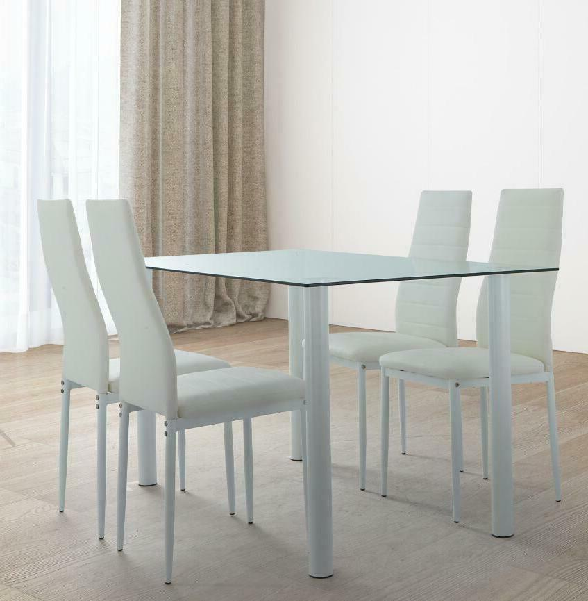 140cm 5 Piece Dining Table Set White 4 Chair Glass Metal Kit