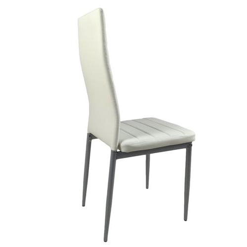 RECTANGULAR DINING WHITE LEATHER CHAIR DINING SET 5 PIECES