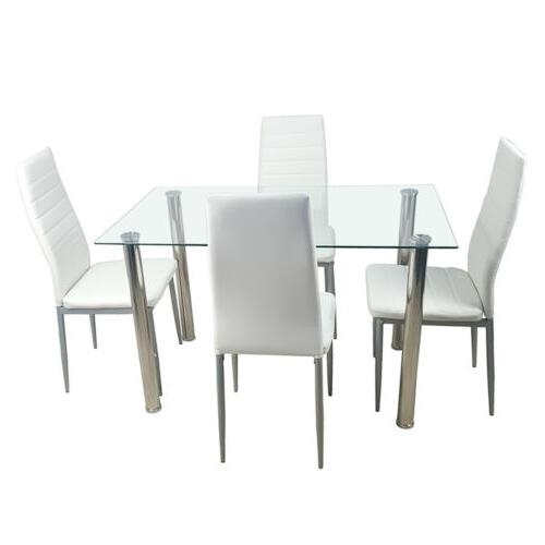 5 Piece Dining Table Set Glass Steel w/4 Chairs Kitchen Room