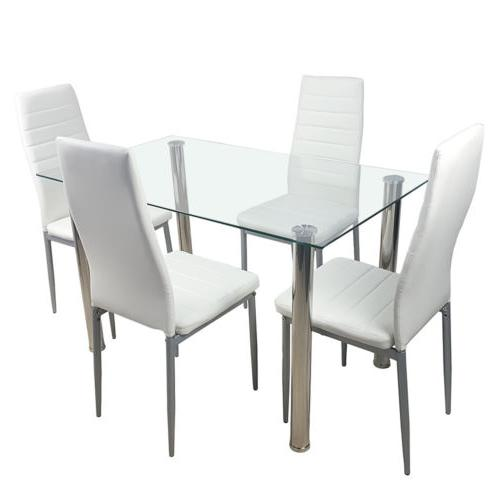 5PC Dining Glass Top Table 4 Chairs Kitchen Furniture white