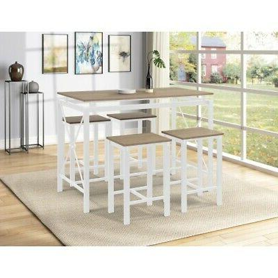 5 Piece Dining Table Set 4 Chair Home Dining Room Breakfast