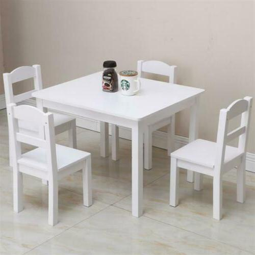 5PCS Wood White Table&Chairs Dining Room Furniture US