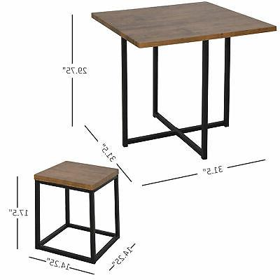 HOMCOM Kitchen Table Chair Board Stools