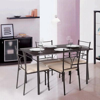 5PCS Modern with Chairs Set Metal Frame Home Kitchen