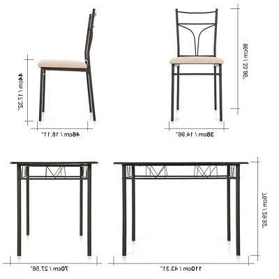 5PCS with Chairs Metal Frame Furniture US