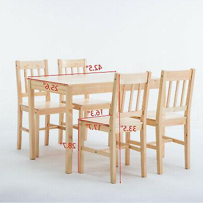 5pcs Wood Table Set with 4 Room Furniture