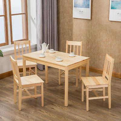 5pcs Pine Wood Dining Table Set Desk 4 Chairs Dining Room Furniture