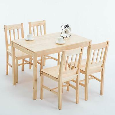 5pcs pine wood dining table set desk