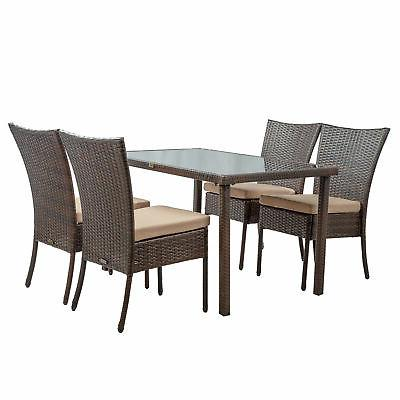 5Pcs Rectangular Patio Dining Set Rattan Wicker Glassed Tabl