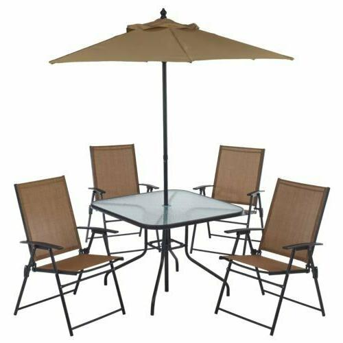 6 piece patio outdoor table and chair dining set with umbrel