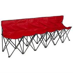 6 Seat Folding Bench Sports Sideline Chairs Portable With Ca